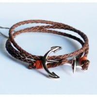 Плетеный кожаный браслет с якорем (кор, черн)