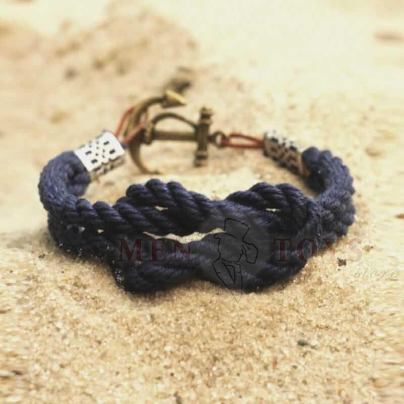 синий двойной браслет с якорем
