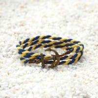 Желто-синий браслет с якорем. 3оборота в комплекте со скидкой