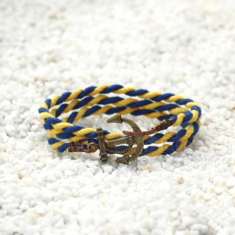 желто-синий браслет с якорем. 3оборота
