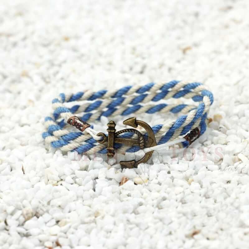 браслет с якорем бело-голубой