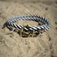 Полосатый браслет с якорем 2 оборота