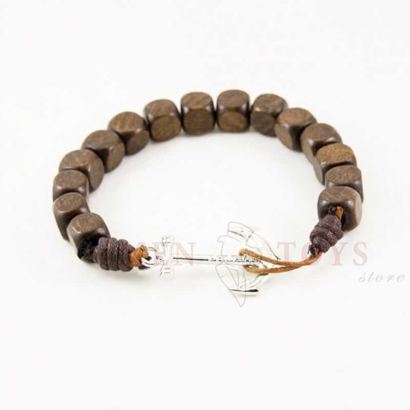 деревянный браслет с якорем. черн/коричн