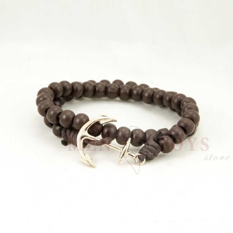 коричневый деревянный браслет с якорем