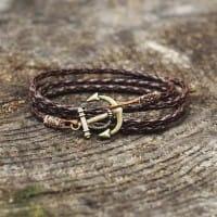 Плетеный браслет из кожи с якорем
