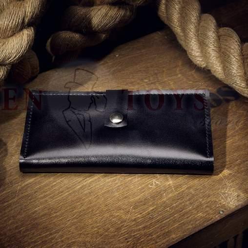 кожаное портмоне ручной работы черное