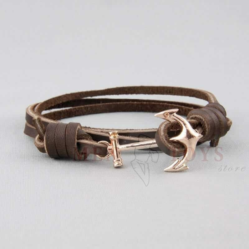 кожаный браслет с якорем под серебро или золото