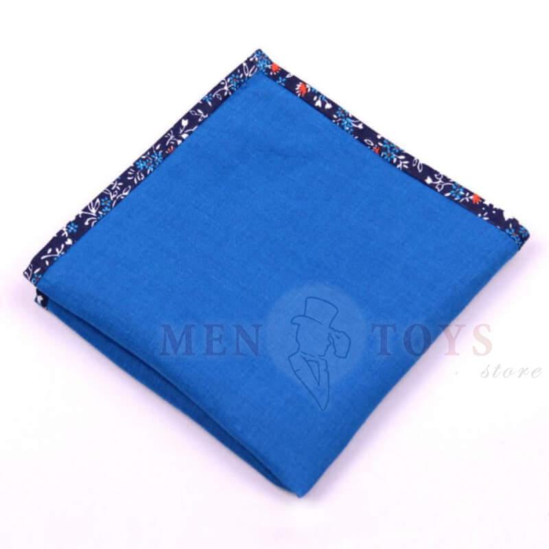 синий нагрудный платок с темным кантом в узор