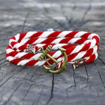 Бело-красный браслет с якорем
