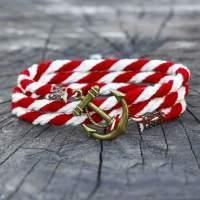 Отзыв о Бело-красный браслет с якорем