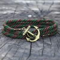 Браслет с якорем коричнево-зеленый в комплекте со скидкой