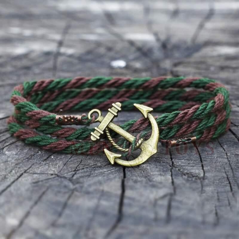 браслет с якорем коричнево-зеленый