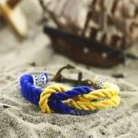 Желто-голубой двойной браслет с якорем