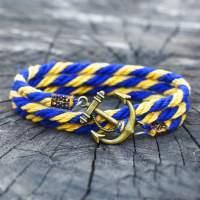 Желто-голубой браслет с якорем  в комплекте со скидкой
