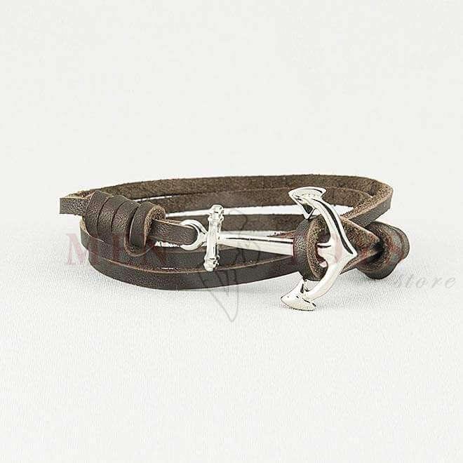 кожаный браслет с якорем из метала
