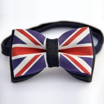 Джинсовая галстук-бабочка с флагом Великобритании