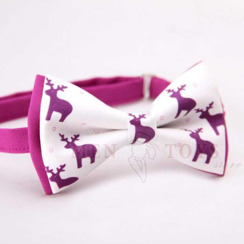 новогодняя галстук-бабочка с оленями